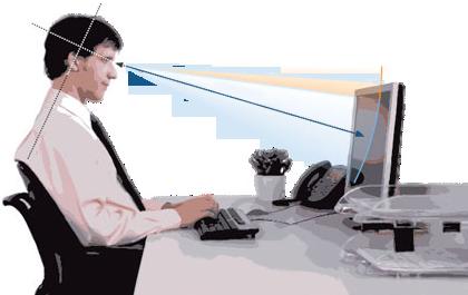 Положение глаз относительно монитора